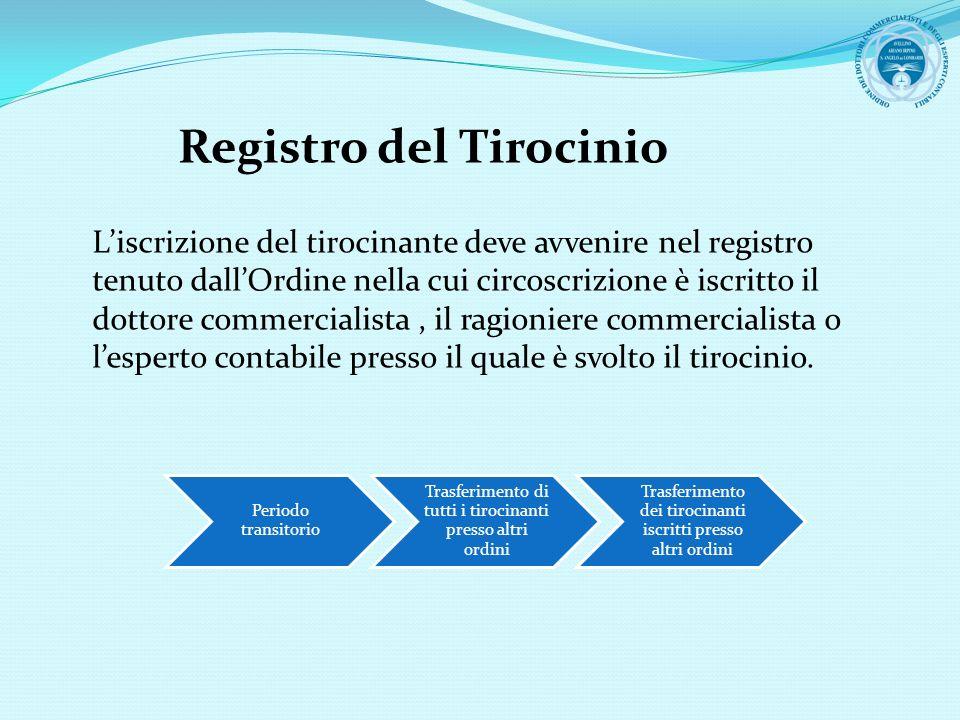 Registro del Tirocinio Liscrizione del tirocinante deve avvenire nel registro tenuto dallOrdine nella cui circoscrizione è iscritto il dottore commerc