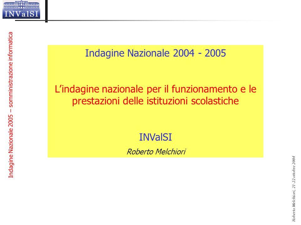Indagine Nazionale 2005 – somministrazione informatica Roberto Melchiori, 21-22 ottobre 2004 Indagine Nazionale 2004 - 2005 Lindagine nazionale per il
