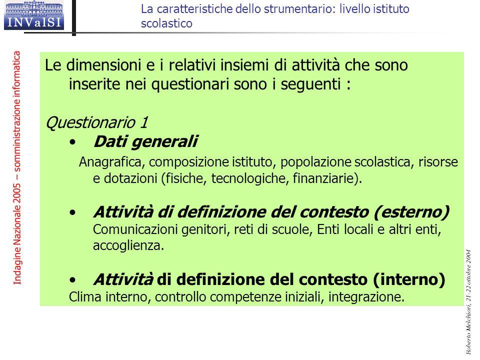 Indagine Nazionale 2005 – somministrazione informatica Roberto Melchiori, 21-22 ottobre 2004 La caratteristiche dello strumentario: livello istituto s