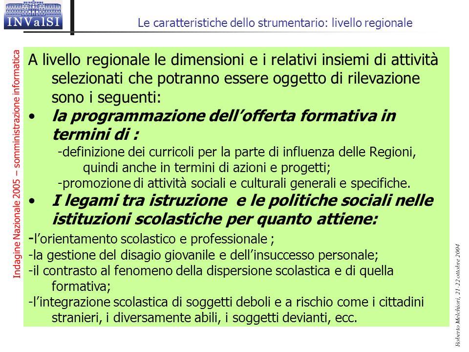 Indagine Nazionale 2005 – somministrazione informatica Roberto Melchiori, 21-22 ottobre 2004 Le caratteristiche dello strumentario: livello regionale