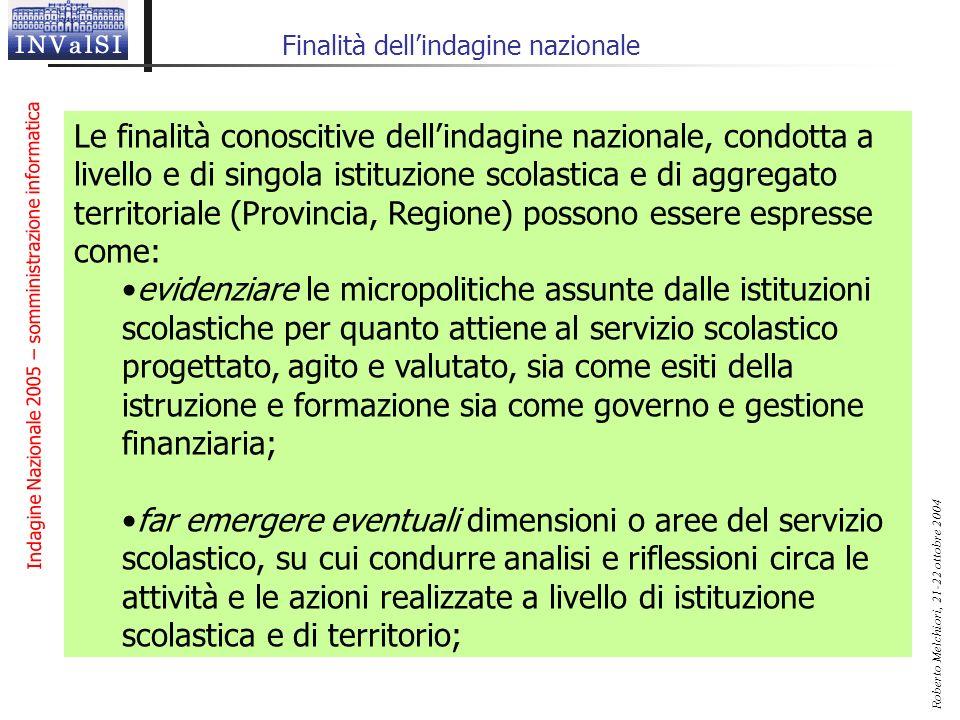 Indagine Nazionale 2005 – somministrazione informatica Roberto Melchiori, 21-22 ottobre 2004 Finalità dellindagine nazionale Le finalità conoscitive d