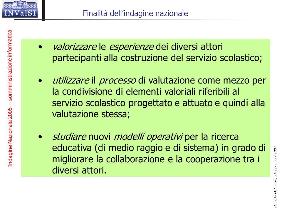 Indagine Nazionale 2005 – somministrazione informatica Roberto Melchiori, 21-22 ottobre 2004 Finalità dellindagine nazionale valorizzare le esperienze