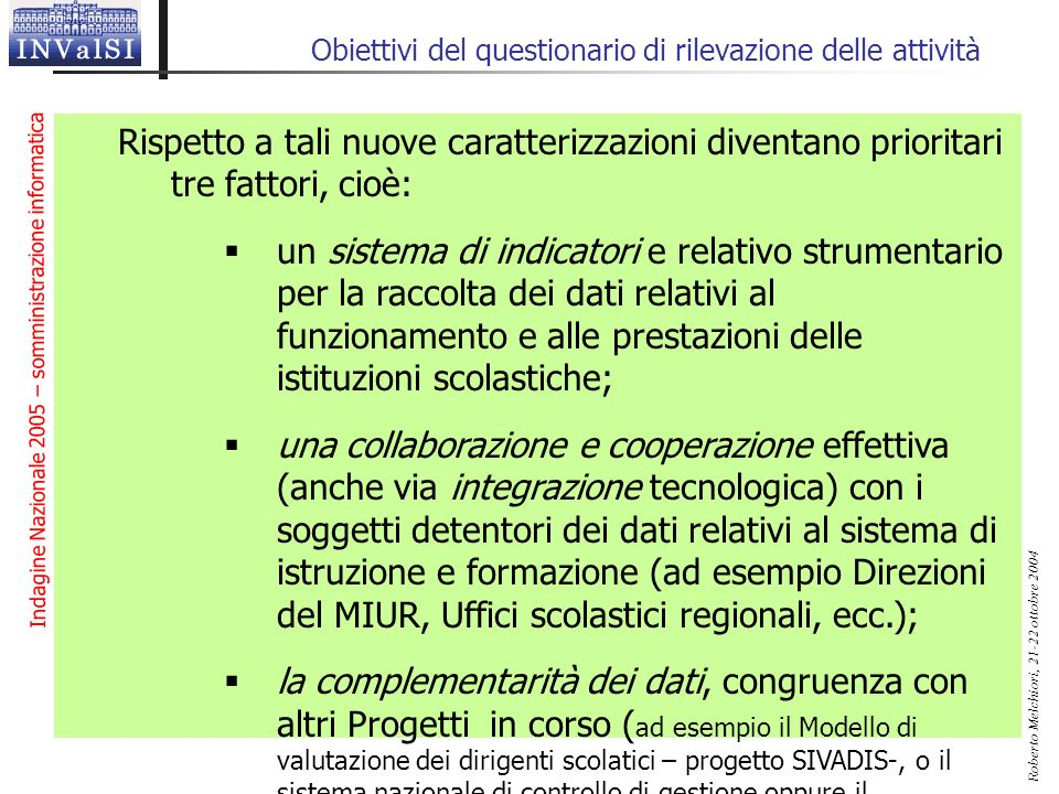 Indagine Nazionale 2005 – somministrazione informatica Roberto Melchiori, 21-22 ottobre 2004 Obiettivi del questionario di rilevazione delle attività