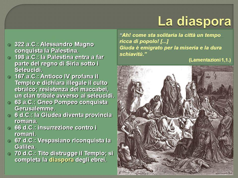 322 a.C.: Alessandro Magno conquista la Palestina. 322 a.C.: Alessandro Magno conquista la Palestina. 198 a.C.: la Palestina entra a far parte del reg