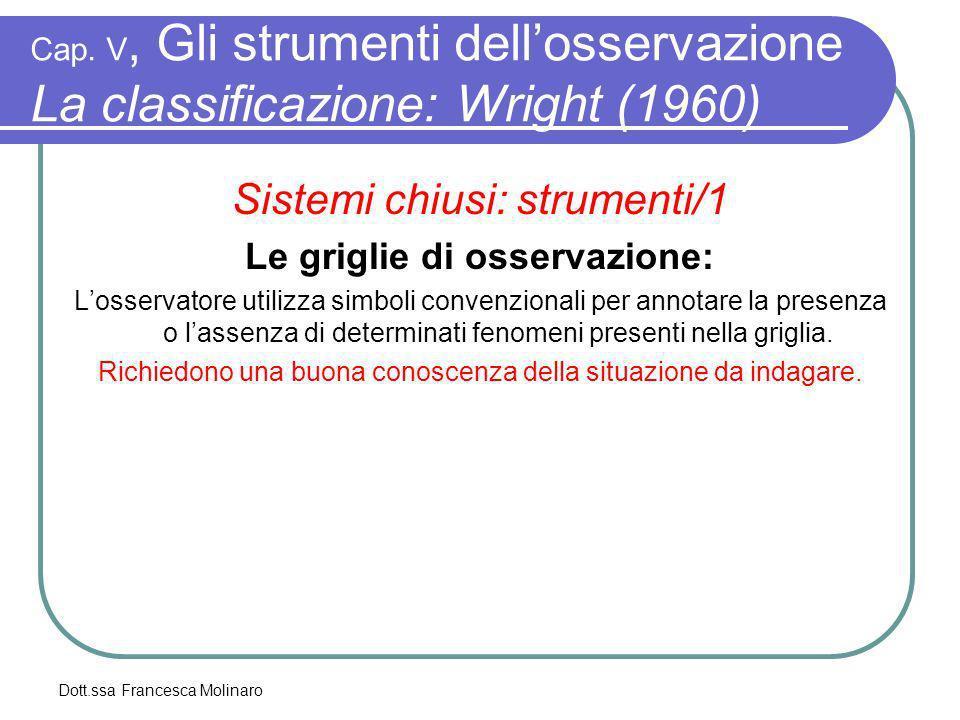 Dott.ssa Francesca Molinaro Cap. V, Gli strumenti dellosservazione La classificazione: Wright (1960) Sistemi chiusi: strumenti/1 Le griglie di osserva