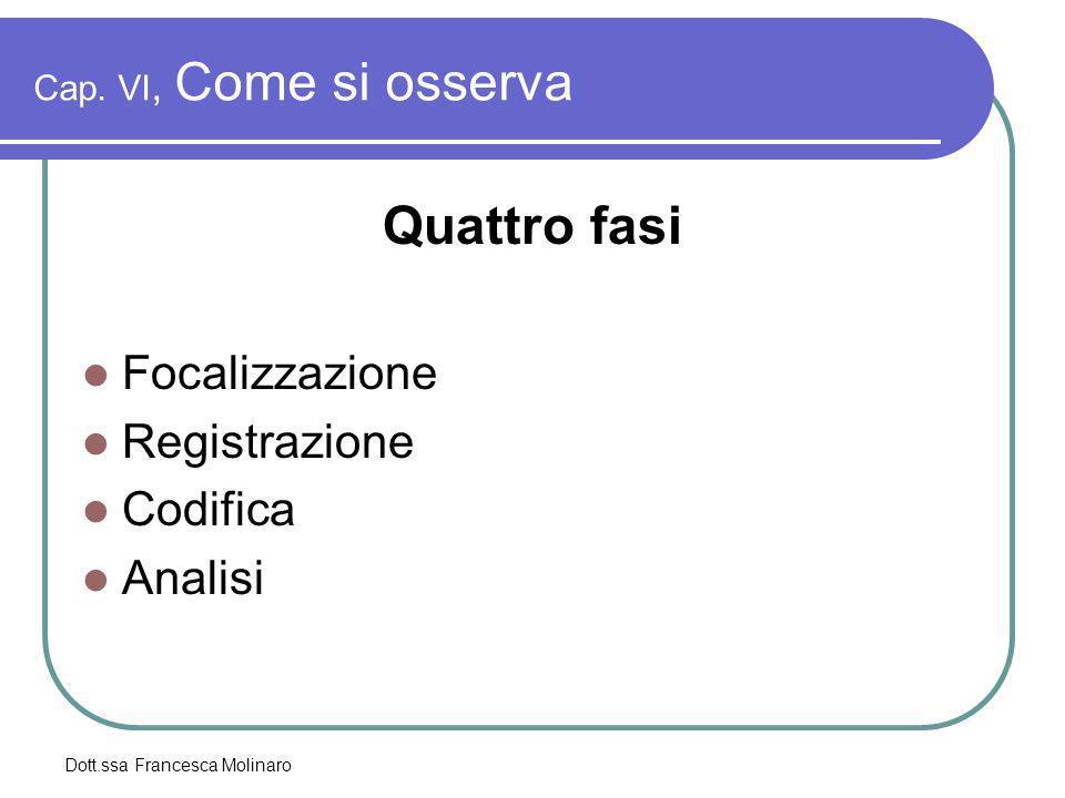 Dott.ssa Francesca Molinaro Cap. VI, Come si osserva Quattro fasi Focalizzazione Registrazione Codifica Analisi