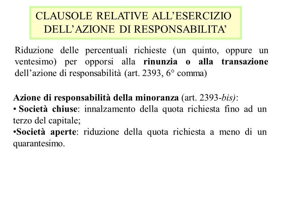 CLAUSOLE RELATIVE ALLESERCIZIO DELLAZIONE DI RESPONSABILITA Riduzione delle percentuali richieste (un quinto, oppure un ventesimo) per opporsi alla ri