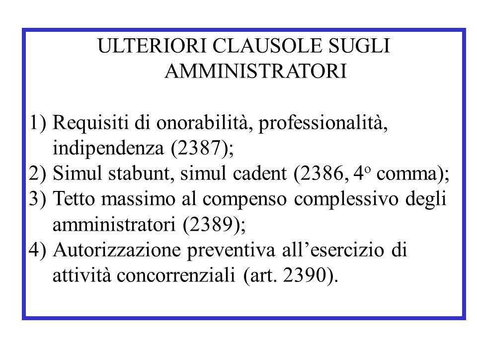 ULTERIORI CLAUSOLE SUGLI AMMINISTRATORI 1)Requisiti di onorabilità, professionalità, indipendenza (2387); 2)Simul stabunt, simul cadent (2386, 4 o com
