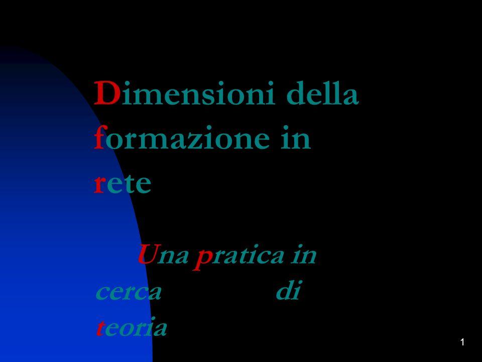 1 Dimensioni della formazione in rete Una pratica in cerca di teoria