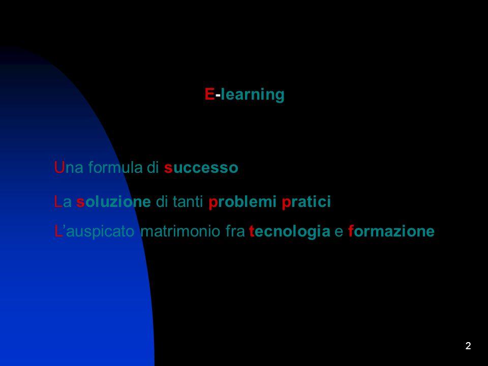 2 E-learning Una formula di successo La soluzione di tanti problemi pratici Lauspicato matrimonio fra tecnologia e formazione