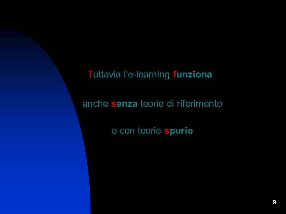 9 Tuttavia le-learning funziona anche senza teorie di riferimento o con teorie spurie