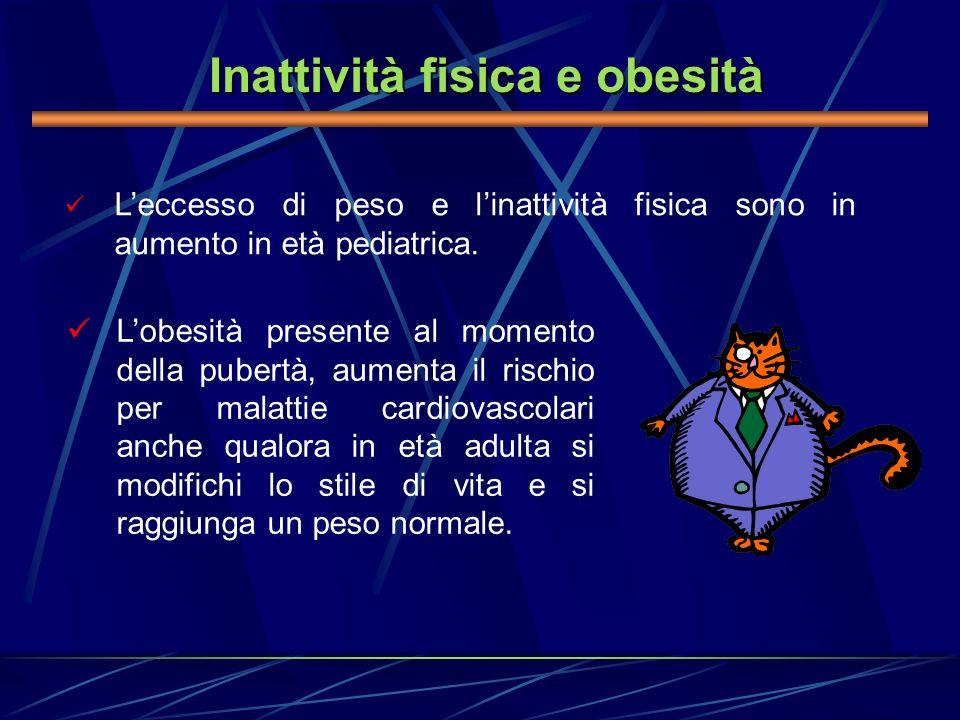 Leccesso di peso e linattività fisica sono in aumento in età pediatrica. Inattività fisica e obesità Lobesità presente al momento della pubertà, aumen