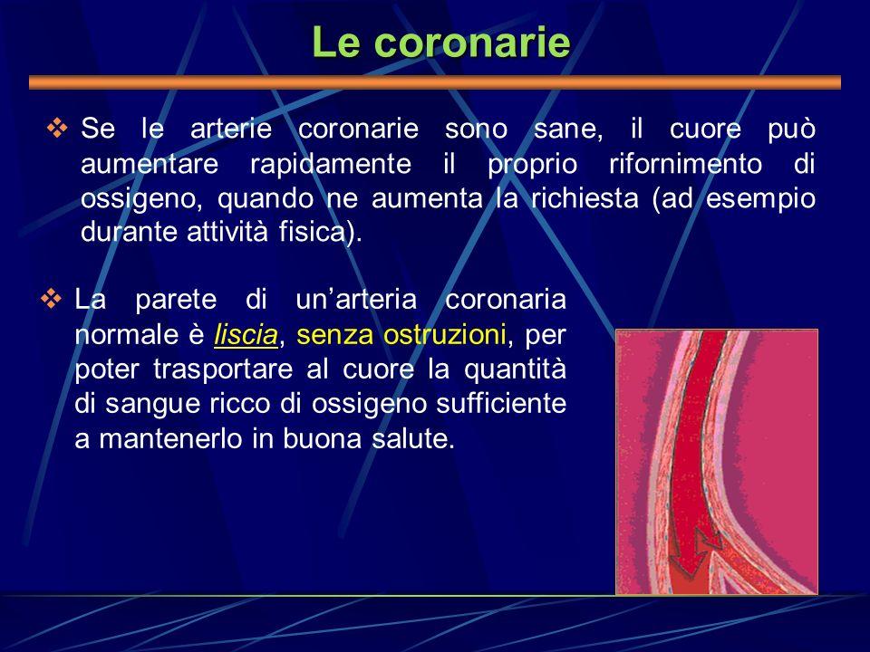 Le coronarie Se le arterie coronarie sono sane, il cuore può aumentare rapidamente il proprio rifornimento di ossigeno, quando ne aumenta la richiesta