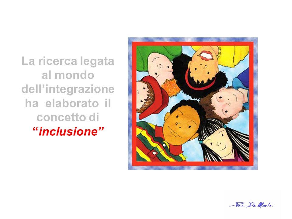 La ricerca legata al mondo dellintegrazione ha elaborato il concetto di inclusione