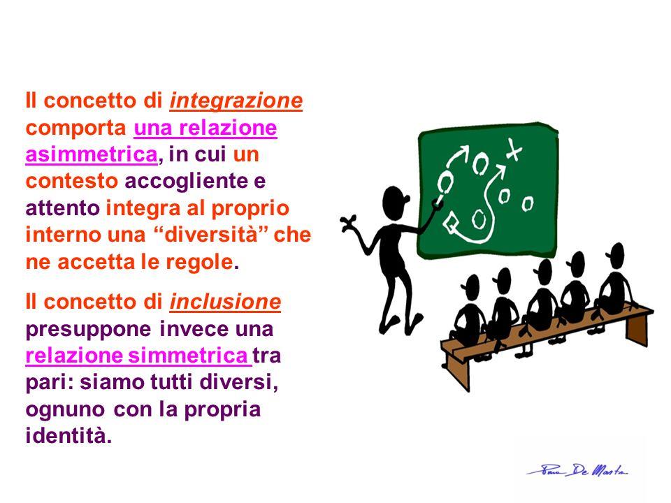 Il concetto di integrazione comporta una relazione asimmetrica, in cui un contesto accogliente e attento integra al proprio interno una diversità che