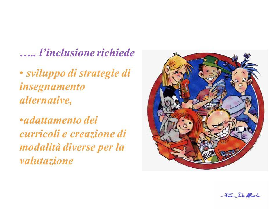….. linclusione richiede sviluppo di strategie di insegnamento alternative, adattamento dei curricoli e creazione di modalità diverse per la valutazio