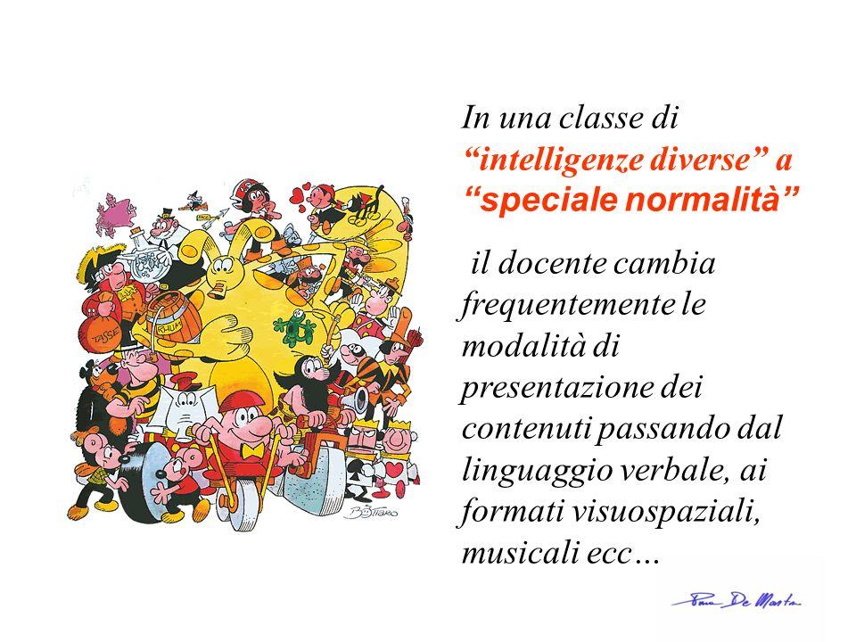 In una classe di intelligenze diverse a speciale normalità il docente cambia frequentemente le modalità di presentazione dei contenuti passando dal li