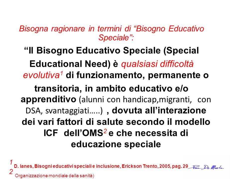 Bisogna ragionare in termini di Bisogno Educativo Speciale: Il Bisogno Educativo Speciale (Special Educational Need) è qualsiasi difficoltà evolutiva