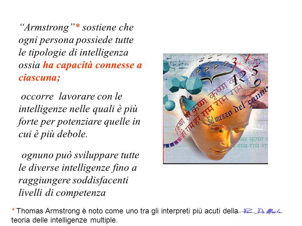 Armstrong* sostiene che ogni persona possiede tutte le tipologie di intelligenza ossia ha capacità connesse a ciascuna; occorre lavorare con le intell