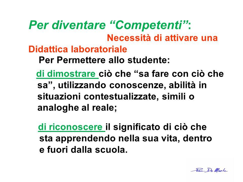 Per diventare Competenti: Necessità di attivare una Didattica laboratoriale Per Permettere allo studente: di dimostrare ciò che sa fare con ciò che sa