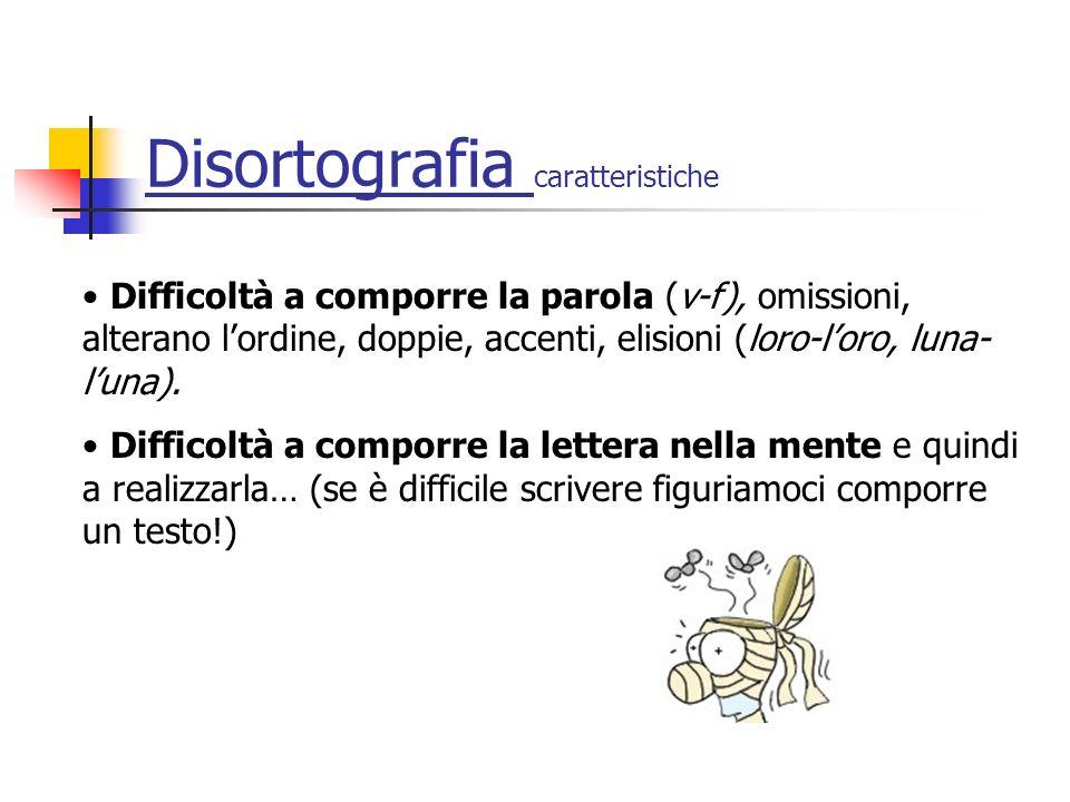 Disortografia caratteristiche Difficoltà a comporre la parola (v-f), omissioni, alterano lordine, doppie, accenti, elisioni (loro-loro, luna- luna).