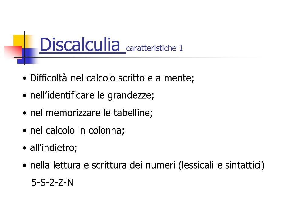 Discalculia caratteristiche 1 Difficoltà nel calcolo scritto e a mente; nellidentificare le grandezze; nel memorizzare le tabelline; nel calcolo in colonna; allindietro; nella lettura e scrittura dei numeri (lessicali e sintattici) 5-S-2-Z-N