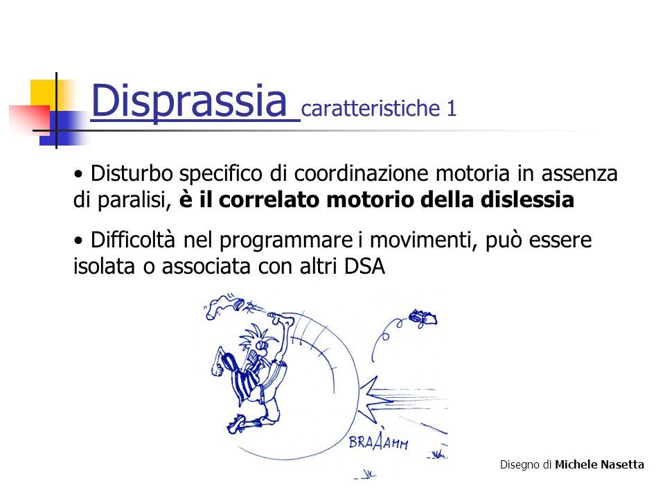 Disprassia caratteristiche 1 Disturbo specifico di coordinazione motoria in assenza di paralisi, è il correlato motorio della dislessia Difficoltà nel programmare i movimenti, può essere isolata o associata con altri DSA Disegno di Michele Nasetta