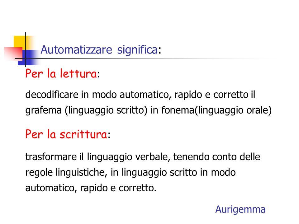Automatizzare significa: Per la lettura : decodificare in modo automatico, rapido e corretto il grafema (linguaggio scritto) in fonema(linguaggio orale) Per la scrittura : trasformare il linguaggio verbale, tenendo conto delle regole linguistiche, in linguaggio scritto in modo automatico, rapido e corretto.