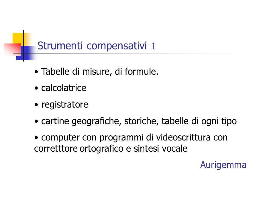 Strumenti compensativi 1 Tabelle di misure, di formule.