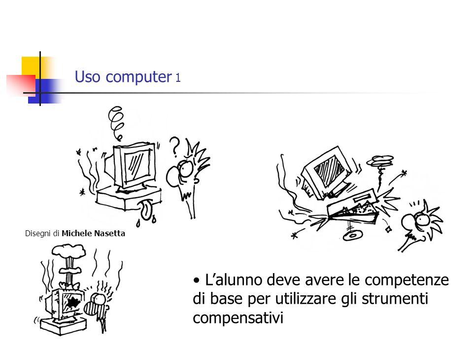 Uso computer 1 Lalunno deve avere le competenze di base per utilizzare gli strumenti compensativi Disegni di Michele Nasetta