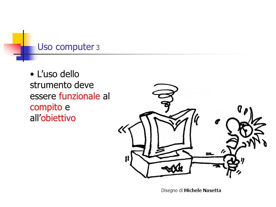 Uso computer 3 Luso dello strumento deve essere funzionale al compito e allobiettivo Disegno di Michele Nasetta
