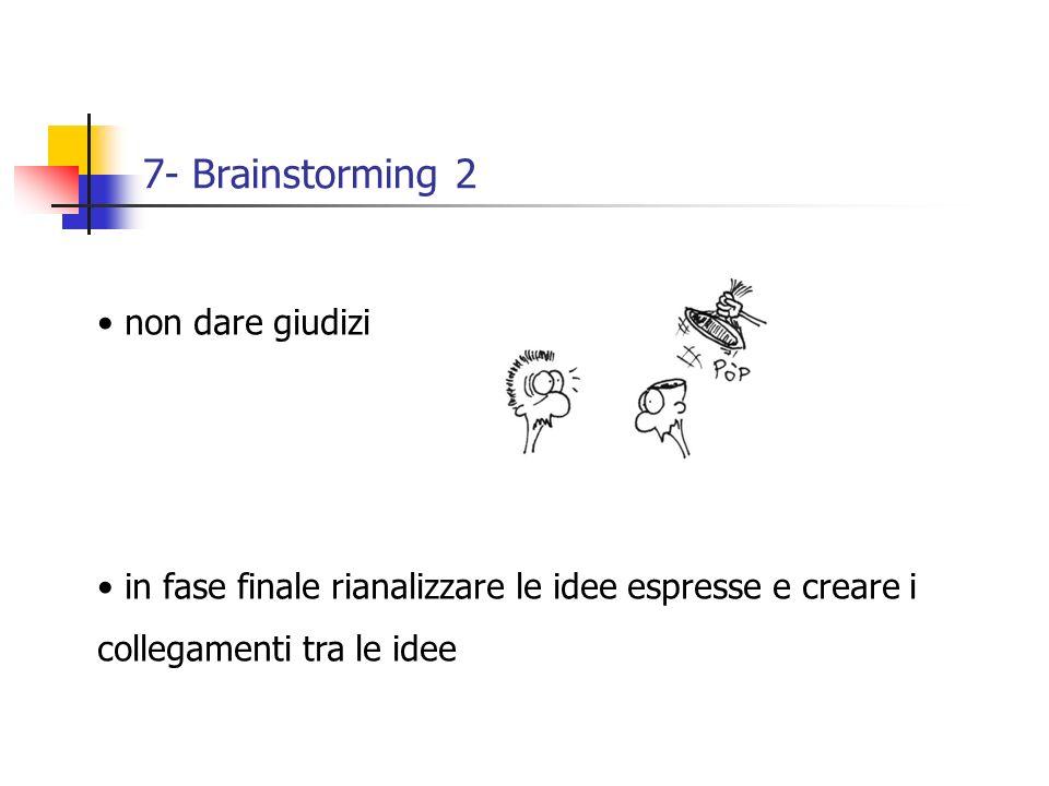 7- Brainstorming 2 non dare giudizi in fase finale rianalizzare le idee espresse e creare i collegamenti tra le idee