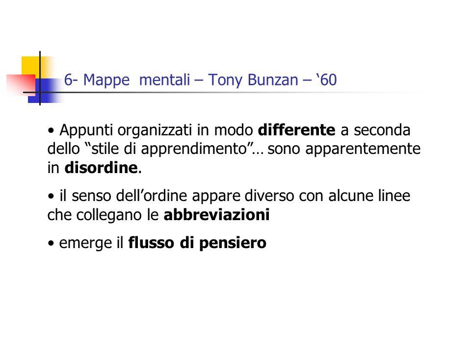 6- Mappe mentali – Tony Bunzan – 60 Appunti organizzati in modo differente a seconda dello stile di apprendimento… sono apparentemente in disordine.
