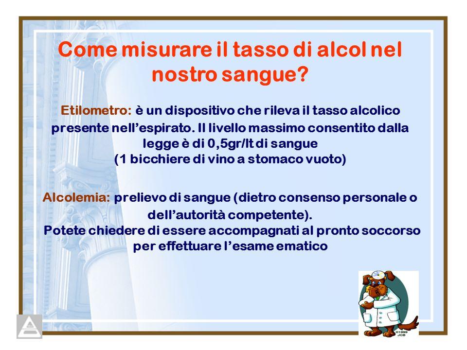 Etilometro: è un dispositivo che rileva il tasso alcolico presente nellespirato. Il livello massimo consentito dalla legge è di 0,5gr/lt di sangue (1