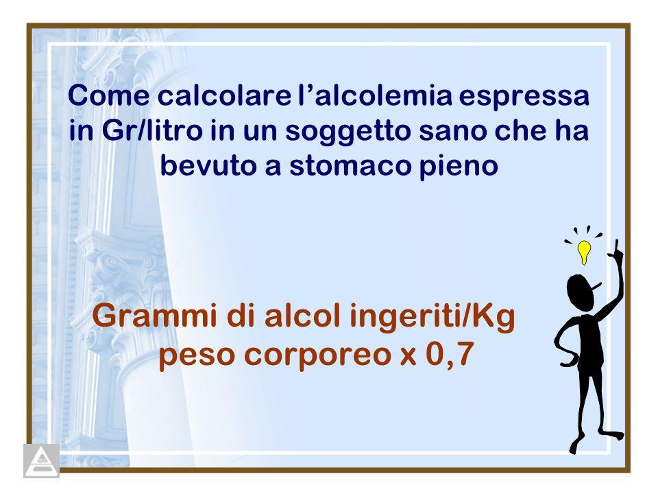 Come calcolare lalcolemia espressa in Gr/litro in un soggetto sano che ha bevuto a stomaco pieno Grammi di alcol ingeriti/Kg peso corporeo x 0,7
