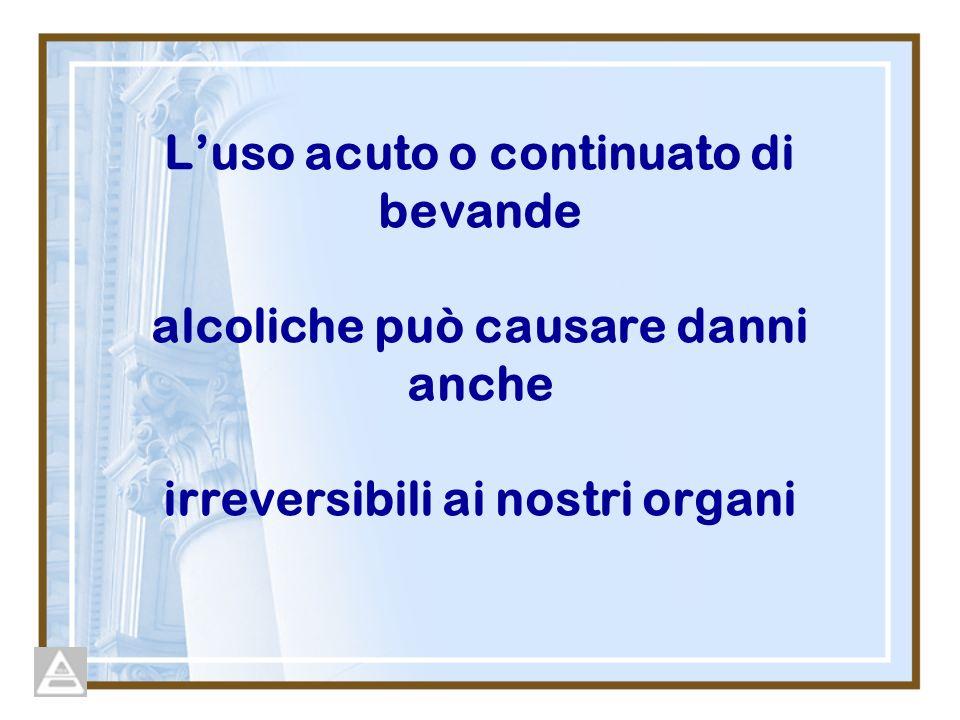 Luso acuto o continuato di bevande alcoliche può causare danni anche irreversibili ai nostri organi