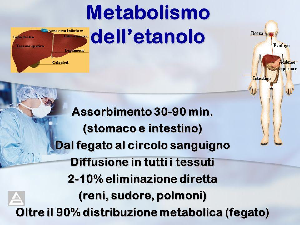 Metabolismo delletanolo Assorbimento 30-90 min. (stomaco e intestino) Dal fegato al circolo sanguigno Diffusione in tutti i tessuti 2-10% eliminazione