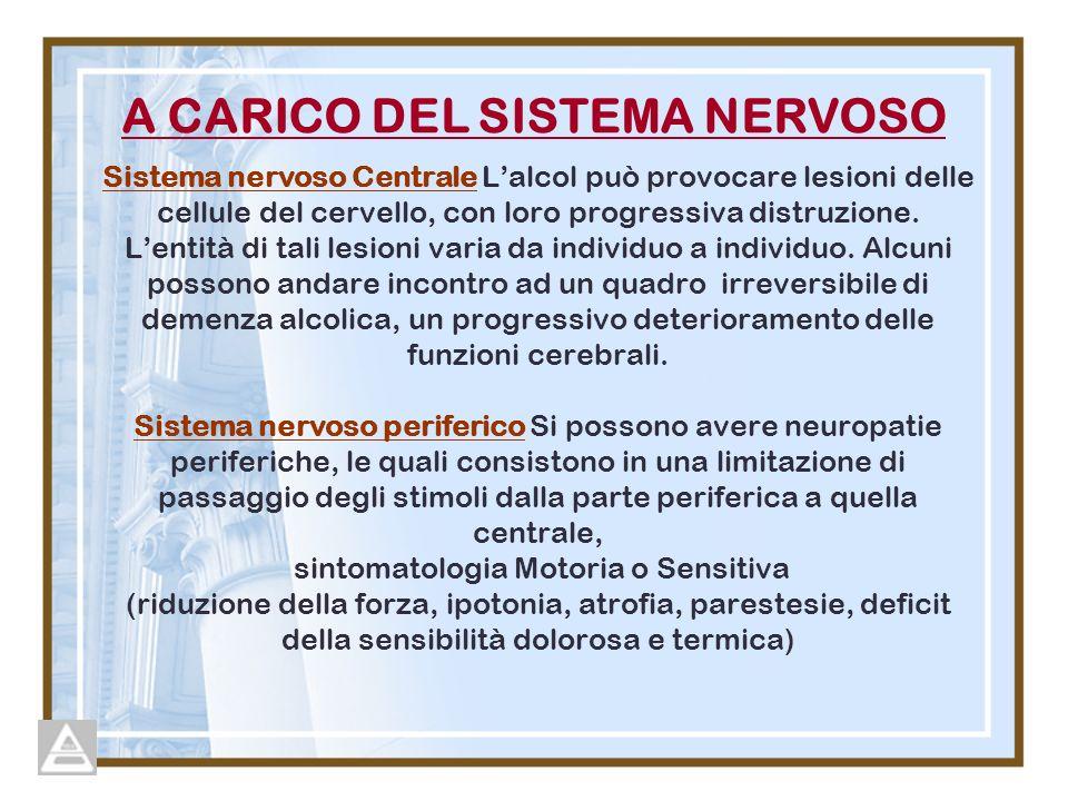 Sistema nervoso Centrale Lalcol può provocare lesioni delle cellule del cervello, con loro progressiva distruzione.