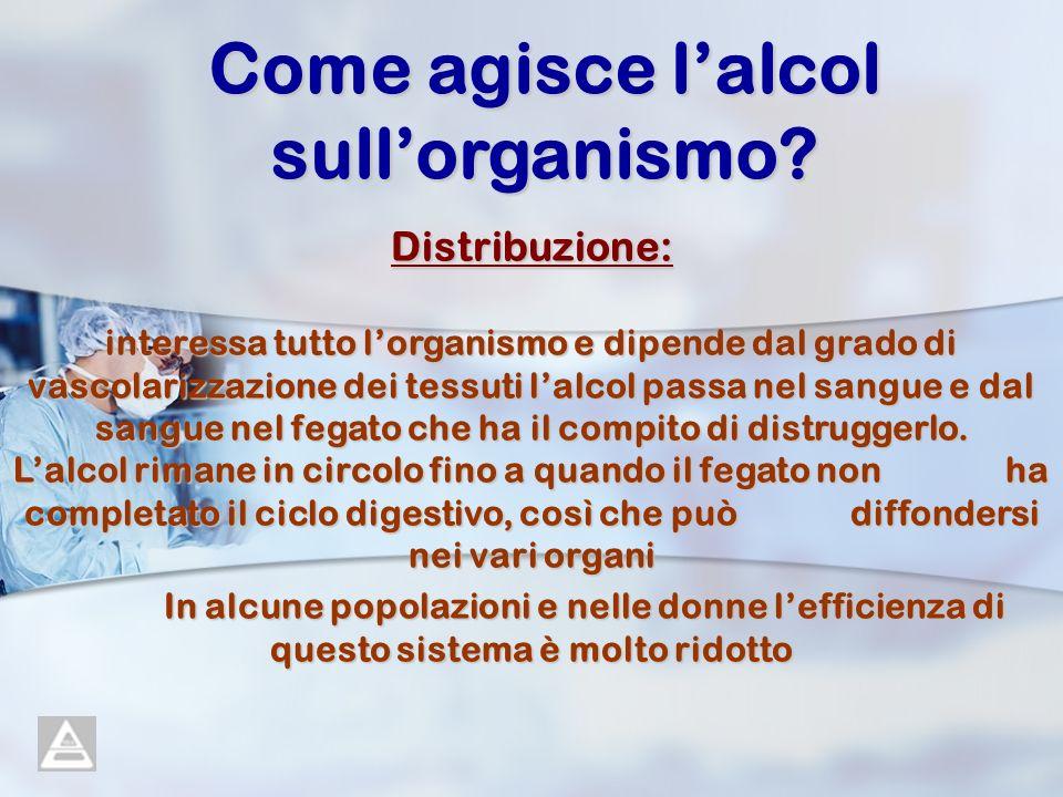 Come agisce lalcol sullorganismo? Distribuzione: interessa tutto lorganismo e dipende dal grado di vascolarizzazione dei tessuti lalcol passa nel sang