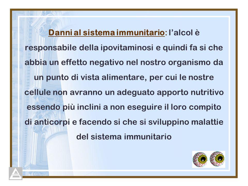 Danni al sistema immunitario: lalcol è responsabile della ipovitaminosi e quindi fa si che abbia un effetto negativo nel nostro organismo da un punto di vista alimentare, per cui le nostre cellule non avranno un adeguato apporto nutritivo essendo più inclini a non eseguire il loro compito di anticorpi e facendo si che si sviluppino malattie del sistema immunitario