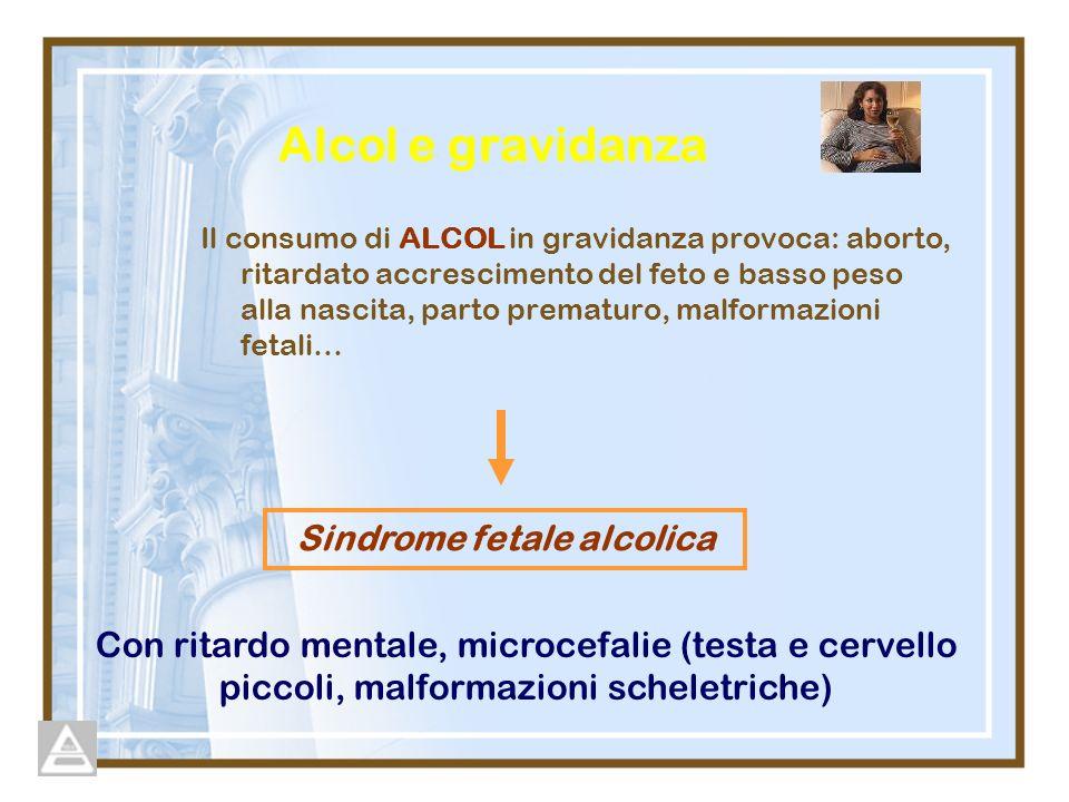 Alcol e gravidanza Il consumo di ALCOL in gravidanza provoca: aborto, ritardato accrescimento del feto e basso peso alla nascita, parto prematuro, malformazioni fetali… Con ritardo mentale, microcefalie (testa e cervello piccoli, malformazioni scheletriche) Sindrome fetale alcolica