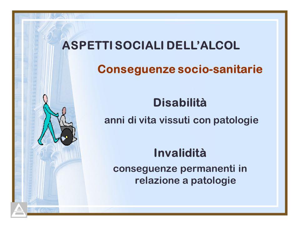 Conseguenze socio-sanitarie Disabilità anni di vita vissuti con patologie Invalidità conseguenze permanenti in relazione a patologie ASPETTI SOCIALI DELLALCOL