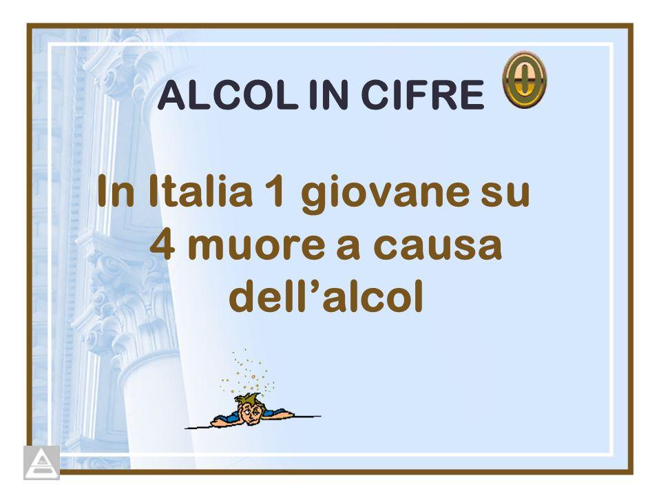ALCOL IN CIFRE In Italia 1 giovane su 4 muore a causa dellalcol