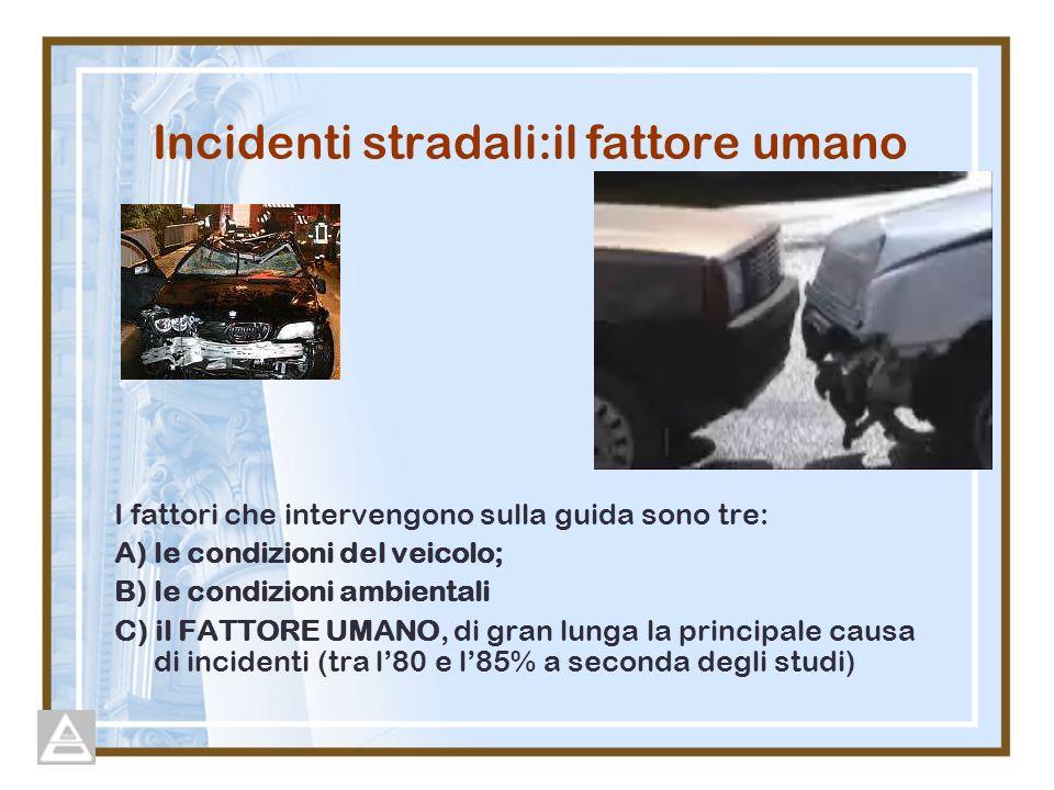 Incidenti stradali:il fattore umano I fattori che intervengono sulla guida sono tre: A) le condizioni del veicolo; B) le condizioni ambientali C) il FATTORE UMANO, di gran lunga la principale causa di incidenti (tra l80 e l85% a seconda degli studi)