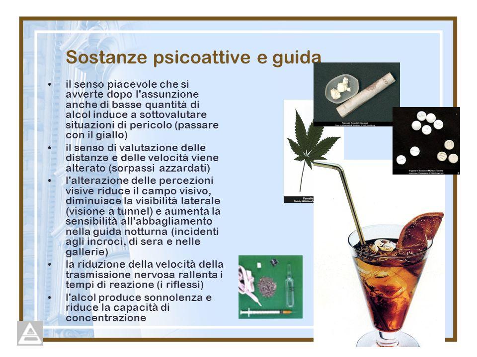 Sostanze psicoattive e guida il senso piacevole che si avverte dopo l'assunzione anche di basse quantità di alcol induce a sottovalutare situazioni di
