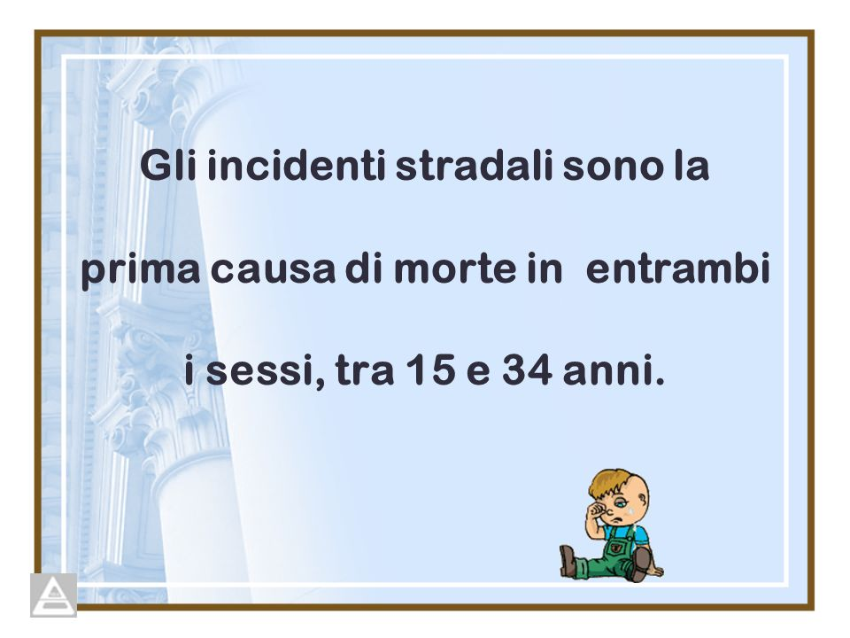 Gli incidenti stradali sono la prima causa di morte in entrambi i sessi, tra 15 e 34 anni.