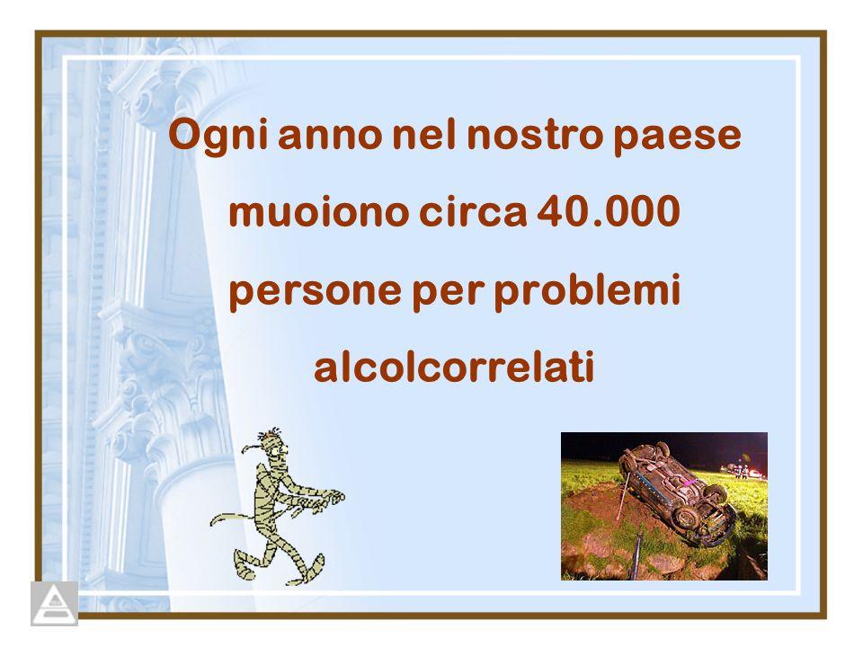 Ogni anno nel nostro paese muoiono circa 40.000 persone per problemi alcolcorrelati