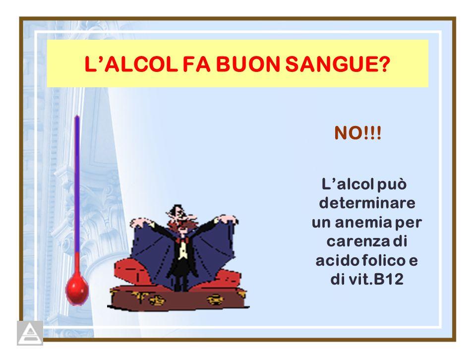 LALCOL FA BUON SANGUE? NO!!! Lalcol può determinare un anemia per carenza di acido folico e di vit.B12