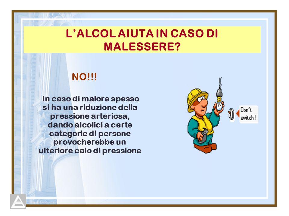 LALCOL AIUTA IN CASO DI MALESSERE.NO!!.