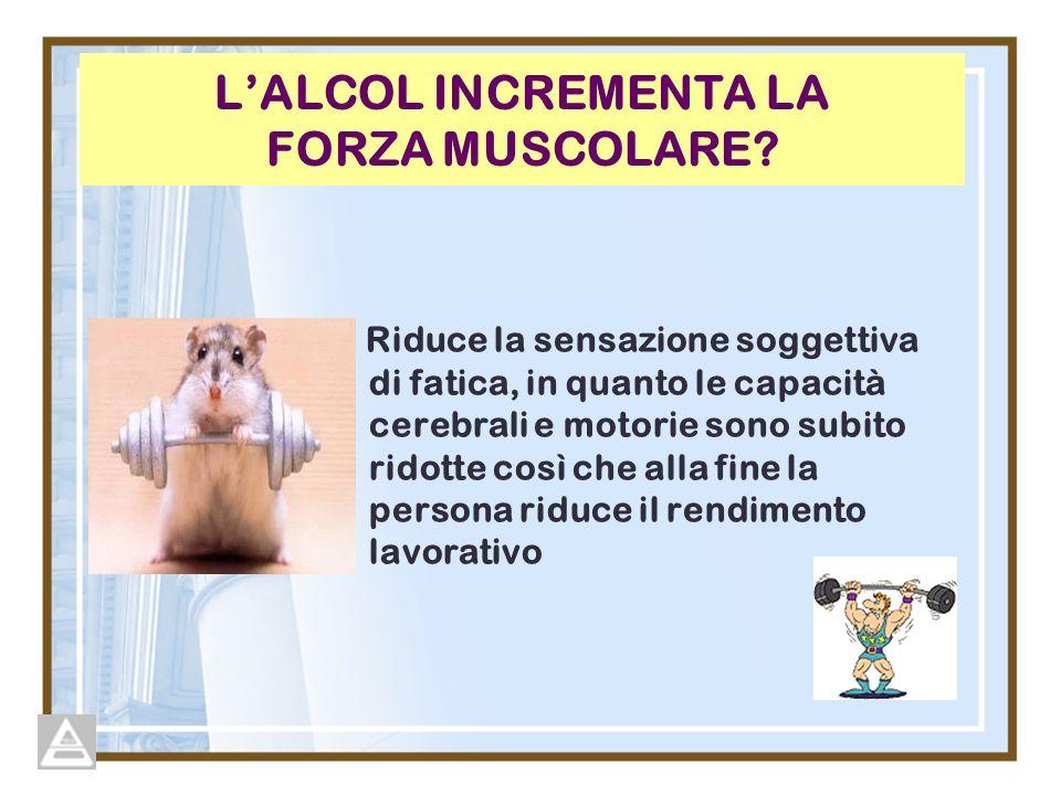 LALCOL INCREMENTA LA FORZA MUSCOLARE? Riduce la sensazione soggettiva di fatica, in quanto le capacità cerebrali e motorie sono subito ridotte così ch